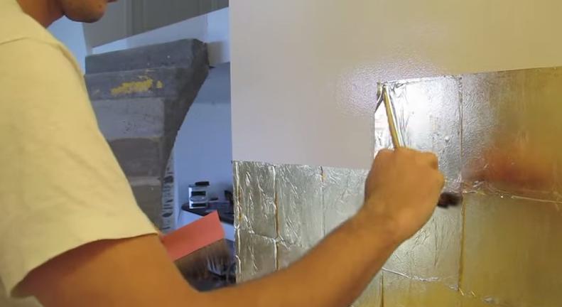 fabriquer un mur dor la feuille de cuivre tutoriel vid o bricolage mega tuto tous les. Black Bedroom Furniture Sets. Home Design Ideas